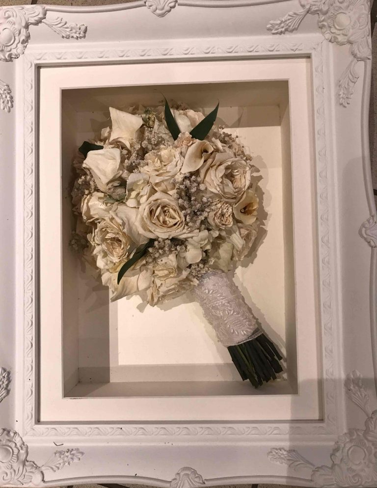 Ornate white frame Wedding Bouquet Preservation