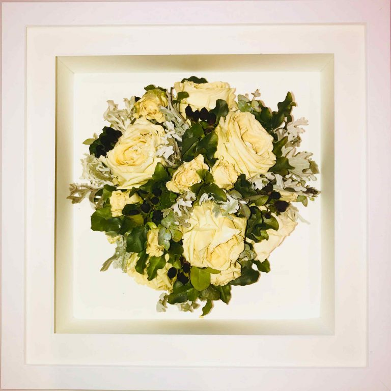 Posy White Frame Wedding Bouquet Preservation