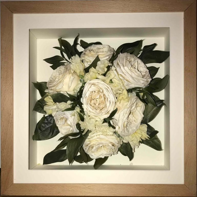 square beech frame white flowers Trinity Flowers Wedding Bouquet Preservation
